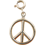 Vintage 14k Gold Peace Sign Charm