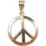 Vintage 10k Gold Peace Sign Charm