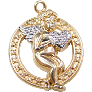 Vintage 14k Gold Two-Tone Angel Charm ~ Let There Be Peace On Earth