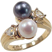 Vintage 14k Gold Cultured Pearl and White Sapphire Bypass Ring