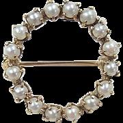 Vintage 14k Gold Cultured Pearl Circle Pin / Brooch
