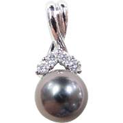 Vintage 14k White Gold Cultured Pearl and Diamond Pendant