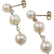Vintage 14k Gold Cultured Pearl Earrings