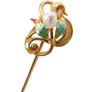 Edwardian 14k Gold Seed Pearl and Enamel Leaf and Vine Stick Pin