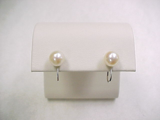 14k white adult screw back earrings