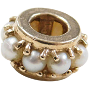 Vintage 14k Gold Cultured Pearl Spacer Bead Charm