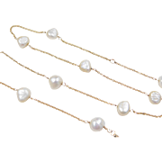 "Vintage 14k Gold Cultured Pearl Station Necklace ~ 15"" - 16 1/2"""