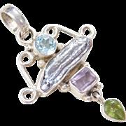 Sterling Silver Pearl, Peridot, Blue Topaz, Amethyst Pendant