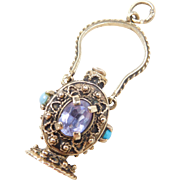 Vintage 14k Gold Gemstone Perfume Bottle Charm ~ 1950's