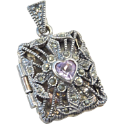 Sterling Silver Amethyst Heart and Marcasites Perfume Locket Pendant