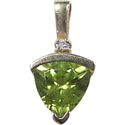 Vintage 14k Gold Peridot and Diamond Pendant