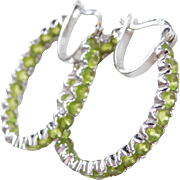 Sterling Silver Inside and Out Peridot Hoop Earrings