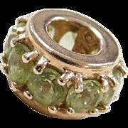 Vintage 14k Gold Peridot Spacer Bead Charm
