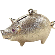 Vintage 14k Gold Piggy Band Charm with Ruby Eyes