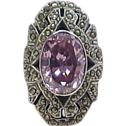 Vintage Sterling Silver Pink Ice and Marcasite Ring