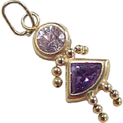 Vintage 14k Gold Pink and Purple Ice Girl Charm