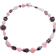 Sterling Silver Pink and Dark Purple Glass Bead Necklace