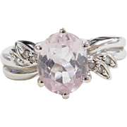 Vintage 14k White Gold Pink Quartz and Diamond Ring