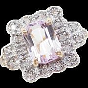Vintage 10k Gold Two-Tone 1.30 ctw Pink Quartz and Diamond Ring