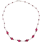 """Sterling Silver Garnet and Pink Quartz Bead Necklace ~ 17"""""""