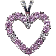Vintage 14k White Gold .93 ctw Pink Sapphire and Diamond Heart Pendant