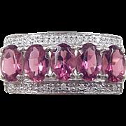 Vintage 14k White Gold Pink Tourmaline and Diamond Ring