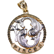 Vintage 10k Gold Two-Tone Pisces Charm