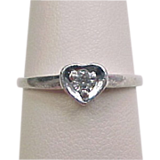 Vintage Platinum Diamond Heart Ring