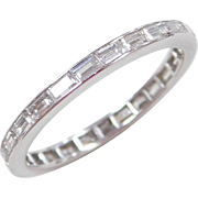Eternity Platinum 1.00 ctw Diamond Baguette Wedding Band Ring Size 6