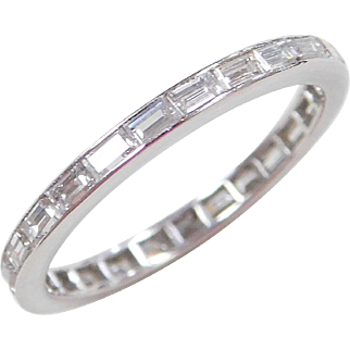 Eternity Platinum 1.00 ctw Diamond Baguette Wedding Band Ring Size 6