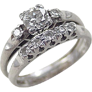 Art Deco Platinum .525 ctw Diamond Ring Set ~ Engagement Ring and Wedding Band