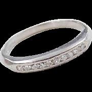 Vintage Platinum .10 ctw Diamond Wedding Band Ring ~ Circa 1930-40's