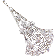 Art Deco Platinum .75 ctw Diamond Pendant