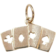 Vintage 14k Gold Playing Cards Charm ~ Clubs, Diamonds, Hearts and Spades