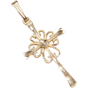 Vintage 14k Gold Pretty Cross Pendant / Charm