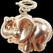 Vintage 14k Gold Puff Elephant Charm