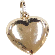 Vintage 14k Gold Puff Heart Charm