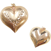 Vintage 14k Gold reversible Puff Heart Charm