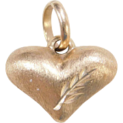 Vintage 14k Gold Puff Heart Charm with Sanblasted Texture and Diamond Cut Accents