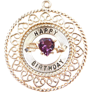 Vintage 14k Gold Big Happy Birthday Faux Amethyst Heart Charm