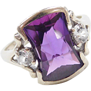 Retro 10k Gold Purple Sapphire and White Spinel Ring