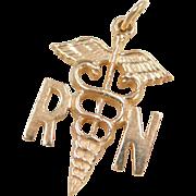 Vintage 14k Gold Registered Nurse Charm
