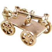 Vintage 14k Gold Moving Railroad Hand Car Charm