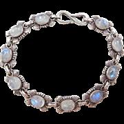 "Sterling Silver rainbow Moonstone Bracelet ~ 8"""