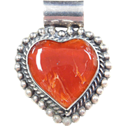 Sterling Silver Red Agate Heart Pendant