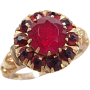 Victorian 10k Gold Red Glass Ring