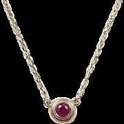 Vintage 14k Gold Red Topaz Necklace