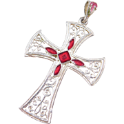 Sterling Silver Enamel Cross Pendant