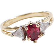 Vintage 14k Gold .78 ctw Red / Pink Tourmaline and Diamond Ring