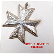 1977 Sterling Silver Reed & Barton Ornament ~  Christmas Cross